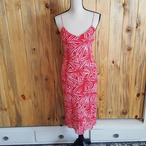 Red and white palm leaf RL dress